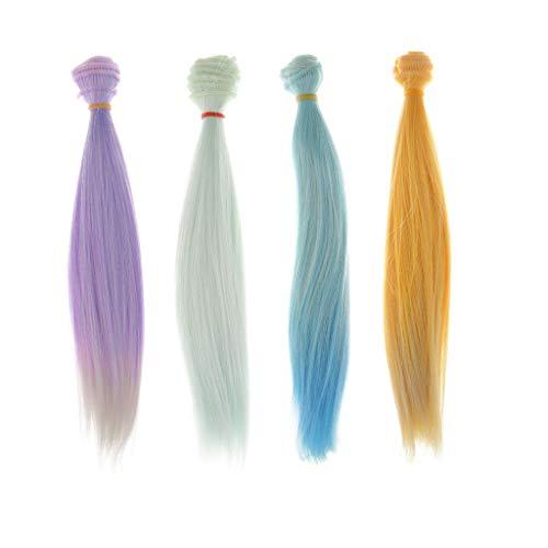 Fenteer Puppen Lange glattes Haar Perücke Für 1/3, 1/4,1/6 Puppe DIY Herstellung Zubehör