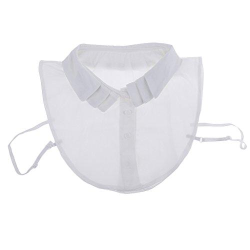 Sharplace Cuello Falso Desmontable Accesorio de Encaje Chifón Media Blusa para Mujeres Ropa Semi Formal - Blanco