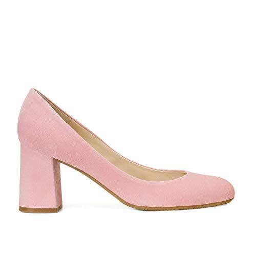 Viva - Salones Zapatos de Vestir para Mujer en Piel con Punta RedondaTacon Ancho de 7 cm - Forro de Piel - Moda Tacones Stilettos Elegantes - Piel