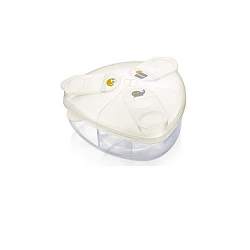 MAM Milchpulverspender, Milchpulver Box zum einfachen Befüllen von Babyflaschen, Milchpulverportionierer fasst bis zu 3 Portionen, 0+ Monate, Robbe/Faultier