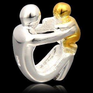 Gouden vergulde vader, zoon of dochter bedel, 925 sterling zilver, moeder, zoon familie bead voor in Europese stijl armband sieraden