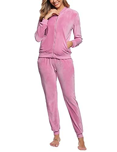 Akalnny Chándal Conjunto Mujer de Terciopelo Informal Pijamas Trajes Chaquetas de Manga Larga con Cremallera + Pantalones de Cintura Alta Rosa Oscuro