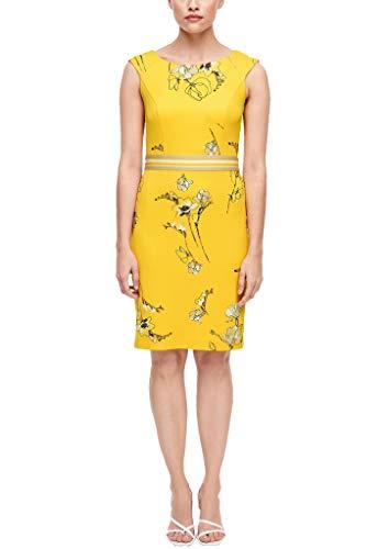 s.Oliver BLACK LABEL Damen Etuikleid mit floralem Muster yellow flower print 38
