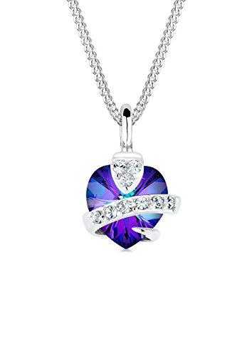 Elli Halskette Elli Damen Halskette mit Herz Anhänger und Swarovski Kristallen in 925 Sterling Silber 45 cm lang