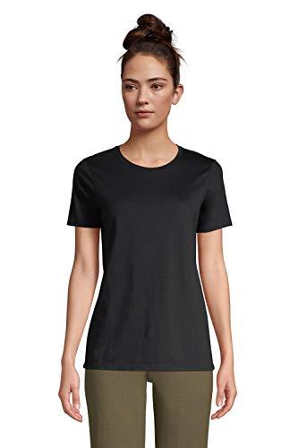 Lands' End Damen Supima Kurzarm-Shirt mit rundem Ausschnitt 40-42 Schwarz