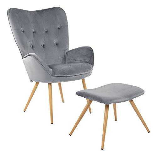Sillón de Orejas Albatros con Taburete York, Gris, Funda de Terciopelo, cómodamente tapizado, butaca para TV, sillón tapizado