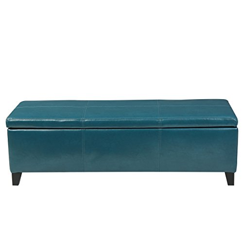 Teal Blue Leatherette Storage Ottoman