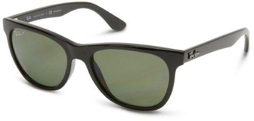 Ray-Ban RB4184 Square Sunglasses, Black/Polarized Green, 54 mm