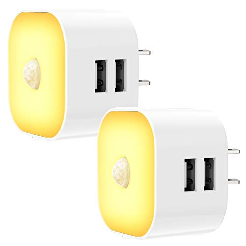 Kids Night Light Plug in  Led Night Lights Plug into Wall with Dual USB Ports 12 LEDs Motion Sensor Light Night for Bedroom Hallway Stairs Kitchen Bathroom2 Pack