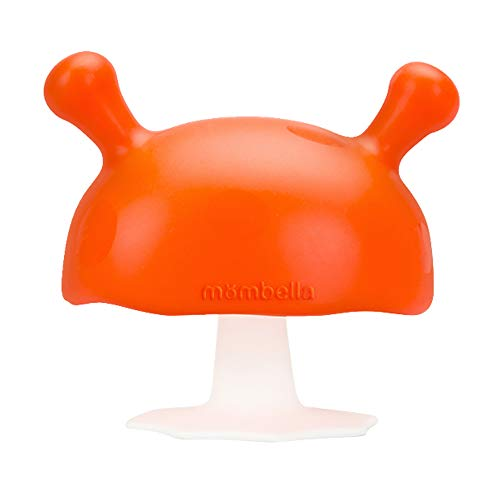 Mombella Mimi the mushroom super soft skin-like infant nipple shaped soothing teether for sucking babies, Help with breast feeding waning and Prevent digit sucking. For 0-6months,Orange