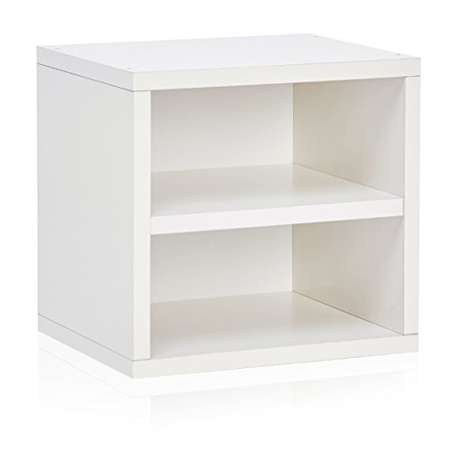 Way Basics Eco Stackable Connect Storage Cube with Shelf Cubby Organizer, White (Tool-Free Assembly and Uniquely Crafted from Sustainable Non Toxic zBoard Paperboard)