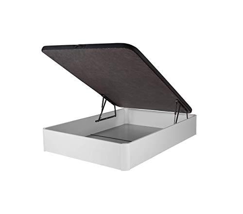 DHOME Canape Abatible Tapizado 3D Blanco y Negro con Apertura Normal o Lateral Esquinas Macizas de Haya canapé Madera (105x190 30mm, Blanco y Negro)
