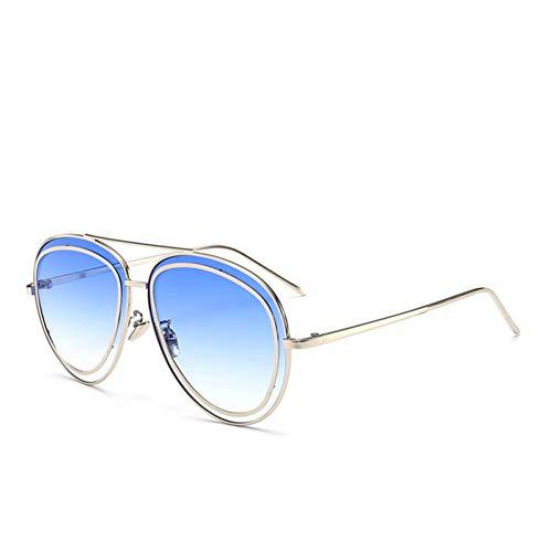 YIERJIU Gafas de Sol Gafas de Sol de Moda Mujeres y Hombres Gafas de Sol con Revestimiento de Espejo Mujeres Famosas Marca Marco Mental Gafas Gafas de Frijoles Gemelos,D