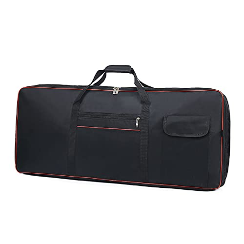 Jinchuan キーボードバッグ 61鍵用 88鍵用 カバー プロ 電子ピアノ ケース ブラック ポケット付き (61鍵用XS:93X25X7cm)