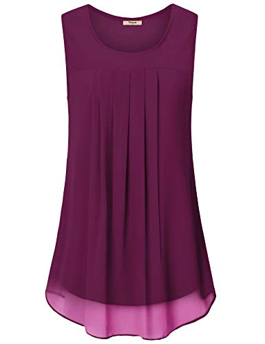Womens Swing Tank Tops,Timeson Junior Summer Tunic Sleeveless T Shirts Chiffon Camisole Business Work Flowy Dressy Blouses for Office(Magenta, X-Large)