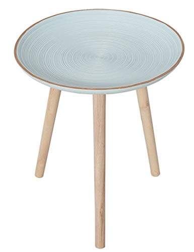 Petite Table géométrique/Table Basse/Table d'appoint Plateau Design, Meubles de décoration de Bureau à la Maison Salon, Support en pin, Bleu Clair (40 × 40 × 44 cm)