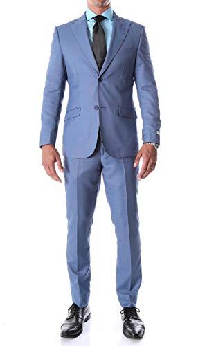 Men's Suit Slim Fit Blue Birdseye Peak Lapel Detroit 2 Piece Suit (44 Long)