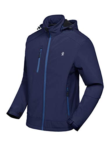 Little Donkey Andy Men's Softshell Jacket with Removable Hood, Fleece Lined and Water Repellent Deep Blue Size XL