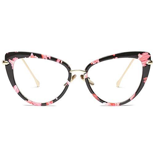 Lvminhm Oversized Box Fashion Cat Eye stijl zonnebril brilmontuur merk design retro zonnebril, bloementransparant