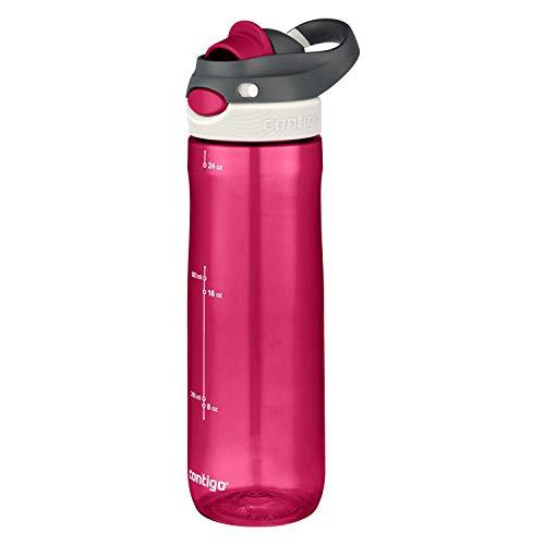 Smoke Leakproof Gym Bottle Sports Flask Large BPA Free Drinking Bottle Running Hiking Bike Contigo Ashland Autospout Water Bottle with Flip Straw Ideal for Sports 720 ml