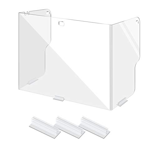 [1-Pack] Sneeze Guard for Desk/Table w/Adhesive Stands,Clear Plastic Protective Shield/Divider for Student Desk,Trifold Table/Counter Partition/Barrier for School Daycare Office Business,22'x18'x13'