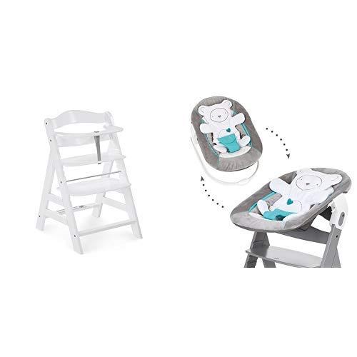 Hauck Newborn Set (2 Teilig): Alpha Hochstuhl ab 6 Monaten, mitwachsend, höhenverstellbar, bis 90 kg belastbar, weiß + Babywippe(Motiv: Teddy) in grau