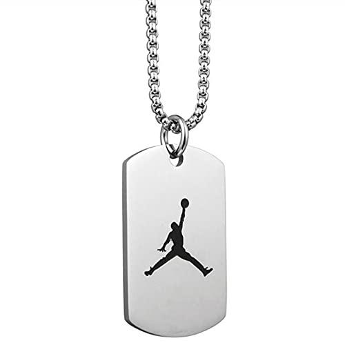 ColorBuy Titanio Acero Jordan Trapeze Slam Dunk Colgante Collar ejército NBA Baloncesto Deporte Acero Inoxidable joyería para Hombre