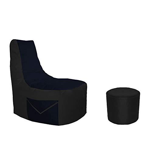 Lacasa Gaming Sitzsack 85x80x35 mit Seitentasche und Hocker Erwachsene Sessel XXL kompatibel mit PS4 XboxOne Nintendo Switch Outdoor Indoor Bodenkissen Sitzkissen in Schwarz.