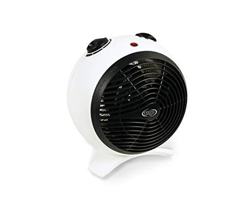 ARGO KIRA ICE Termoventilatore con Resistenza a Filo, Bianco/Nero, due modalità di funzionamento: Eco e Comfort, Dimensioni 235x235x200