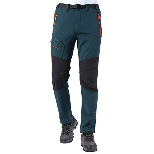 Herren Wanderhose Outdoorhose Trekkinghose Softshellhose Skihose Wasserdicht, Winddicht Atmungsaktiv Zip Off Funktionshose (Dunkel blau, Large)