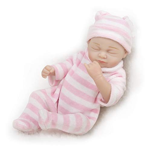 """TCBunny Reborn Newborn Baby Realike Doll Handmade Lifelike Silicone Vinyl Weighted Alive Doll for Toddler Gifts 10"""" (RBB-0127-00)"""