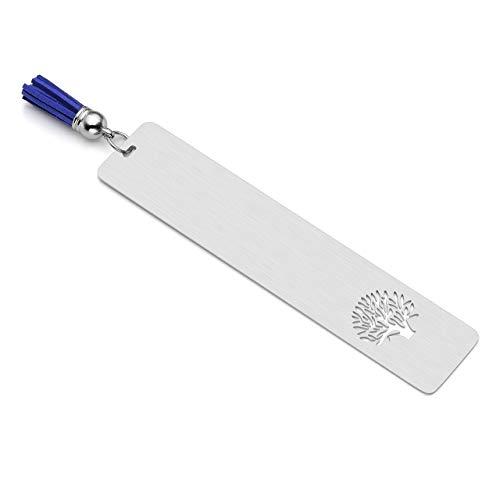 PiercingJ - Segnalibro motivante personalizzabile, in acciaio inox, 30 x 140 mm, motivo: albero della vita cavo, targhetta con nappa blu Senza incisione.