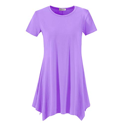 Topdress Women's Loose Fit Swing Shirt Casual Tunic Top for Leggings Lavender 2X
