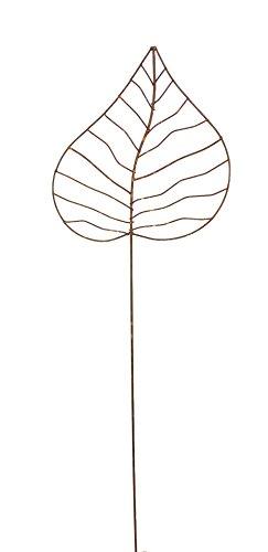 Crispe home & garden Gartenstecker Edelrost - Herzblatt mittel   Rankhilfe Gartendeko Höhe 115 cm