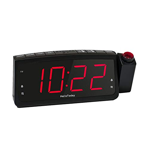 Projektionswecker, FM Radiowecker-Doppelalarme, Große Digitale LED-Anzeige, USB-Ladeanschluss, Snooze, Dimmer