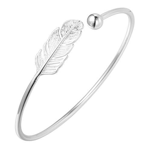Pulsera de plata de ley 925con diseño de hoja, estilo boho, para mujer
