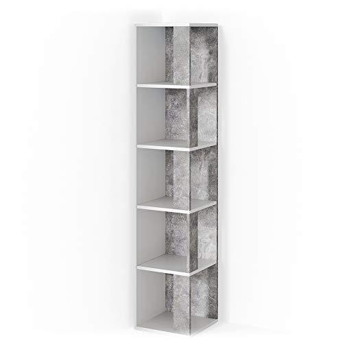 Vicco Eckregal Lio Standregal Bücherregal Wandregal Raumteiler 5 Ebenen (Weiß-Beton)