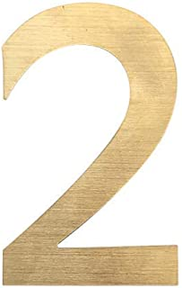 4 Inch Self Adhesive Metal House Address Number 2 Sticker for Home Mailbox Door - Gold