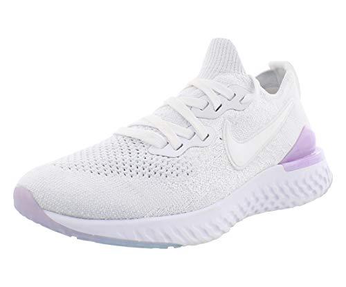 Nike Women's Epic React Flyknit 2 Running Shoe (8.5, White/Pink/Black)
