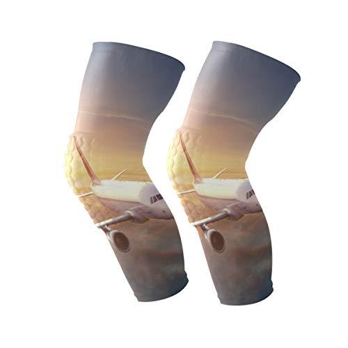 COOSUN vliegtuig in de lucht bij zonsondergang kniebrace, kniecompressie mouwen ondersteuning voor hardlopen, artritis, meniscus scheuren, sport, gewrichtspijn verlichting en letsel herstel