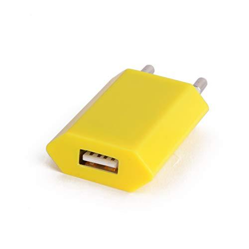Shot Case Adaptador USB Enchufe Pared para iPhone 4/5/6/7/8S C X Plus Sector 1Puerto Corriente AC Cargador Amarillo