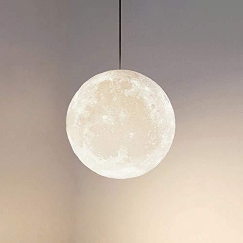 TATANE 3D Drucken Mond Pendelleuchten 3 Farben Lichter 120CM Kabel Einstellbar Kreativ Universum Planet Decke LED Hängend Beleuchtung Lampe zum Schlafzimmer Bett Esszimmer Balkon Wohnzimmer,20CM