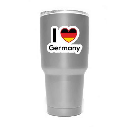 """More Shiz MKS0168 Aufkleber, Motiv """"Love Germany Flagge"""", für Reisen, Auto, LKW, Van, Stoßstange, Fenster, Laptop, Tasse, Wand, 2 Stück"""