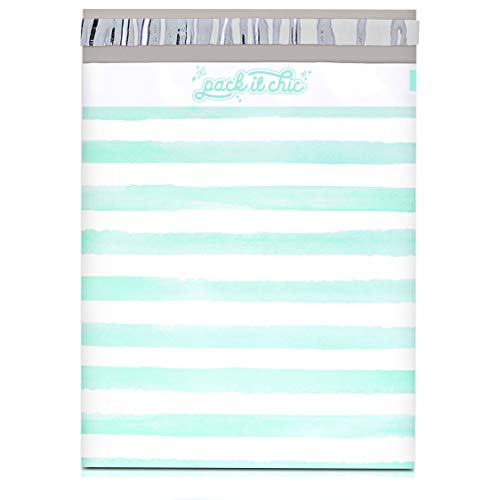 Pack It Chic - 10X13 (100 Pack) Teal Watercolor Stripes Poly Mailer Envelope Plastic Custom Mailing & Shipping Bags - Self Seal