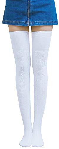 AnVei-Nao Womens Girls Winter Over Knee Leg Warmer Knit Crochet Socks Leggings White