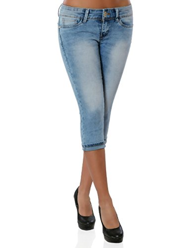 Damen Jeans Kurze Sommer Hose Push-Up Denim Stretch DA 15908 Farbe Blau Größe M / 38