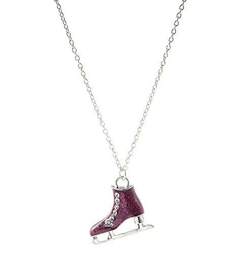 Vi.yo Schlittschuhe Form Frauen Halsketten Legierung mit Zirkonia Anhänger Halsketten Schmuck mit 65cm Kette für Mädchen