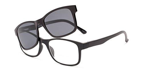 Readers.com Reading Sunglasses: The Peace Polarized Magnetic Bifocal Reading Sunglasses Plastic Retro Square Style