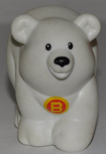 Little People Polar Bear 'B' on Chest (2004) - Replacement Figure Accessory - Classic Fisher Price Collectible Figures - Loose Out Of Package & Print (OOP) - Zoo Circus Ark Pet Castle