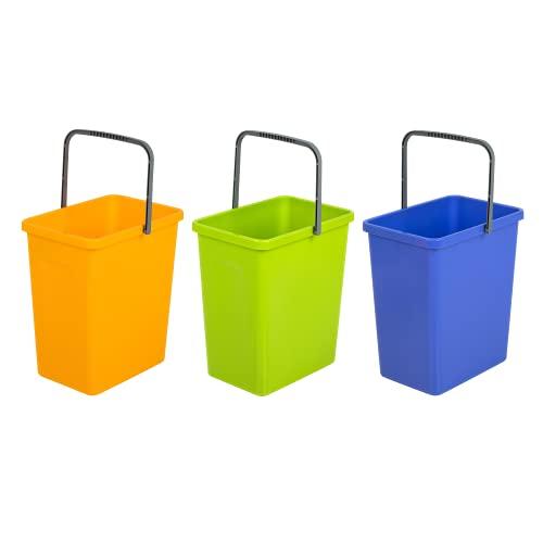 BranQ - Home essential Juego Universal de 3 cestas de Reciclaje con asa práctica Hecha de Material BPA, Color Amarillo, Verde y Azul, 17,5x26x29 cm (LxBxH)